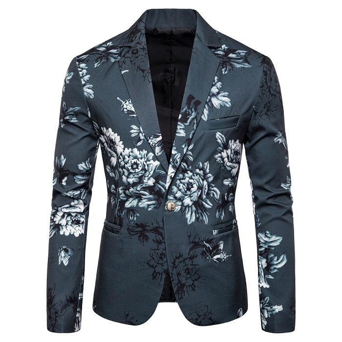 Men's Fashion Print Design Male Slim Fit Casual Blazer