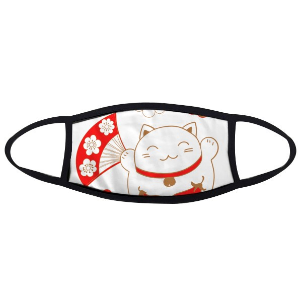 Lucky Fortune Cat Flower Fan Eggplant Japan Culture Face Anti-dust Mask Anti Cold Maske Gift