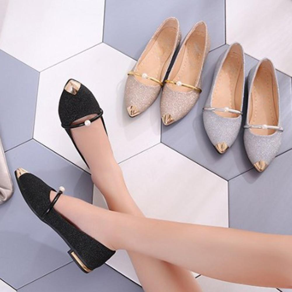 2019 Spring Women Flat Shoes Casual Flat Heels Pearl Women Shoes Comfort pointed Toe Ballerina Ballet Shinny Slip On Flat Shoes