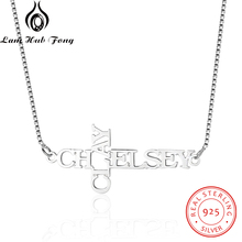 Custom 925 Sterling Silver Name Necklace Personalized Letter Choker DIY Nameplate Pendant  Engraved 2 Names Fine Jewelry Unique Handmade Best Birthday Gift for Women (Lam Hub Fong)