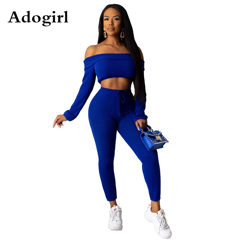 2020 Spring Ribbed Two Piece Set Slash Neck Full Sleeve Crop Top+Lace Up Pencil Pants Tracksuits Woman Sports Fitness Outfits