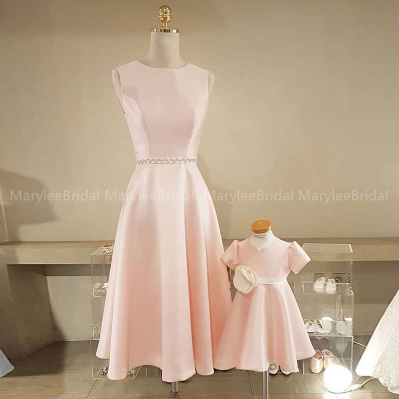 Blush Pink Tea Length Prom Dresses Jewel Neck Formal Party Dress Beaded Belt vestidos de gala Simple Korea Girls Prom Gowns