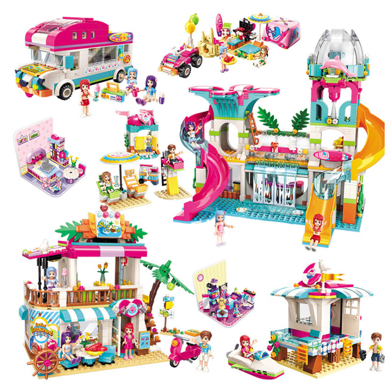Friends Girls Building Block Sets Camping Car Seaside Happy Holiday Picnic Play on the slide educational DIY Brick Toy Gifts image