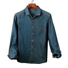 Cotton Long Sleeve Denim Shirt Men's Day Vintage T