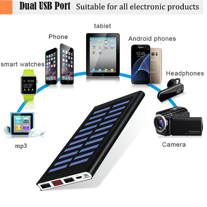 30000mah External Battery Solar Power Bank with 2 USB Port and LED Flashlight for Smartphone