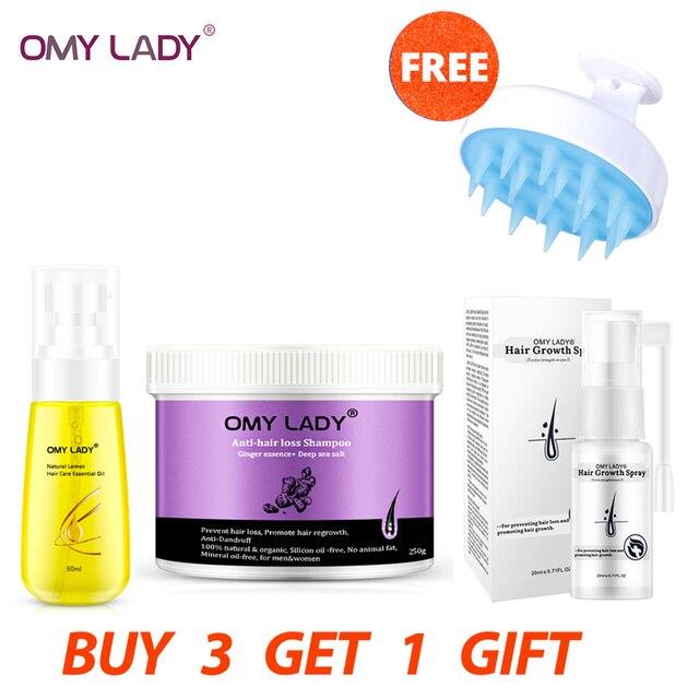 OMY LADY Anti Hair Growth สเปรย์ + ขิงแชมพู + 60ML ผม Essential น้ำมัน + แปรงแชมพู