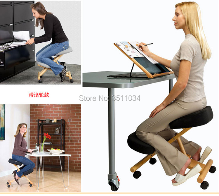2019 New Ergonomic Posture Knee Chair With Silent Pulley Kneeling Chair Oak Wood Modern Office Furniture Computer Chair