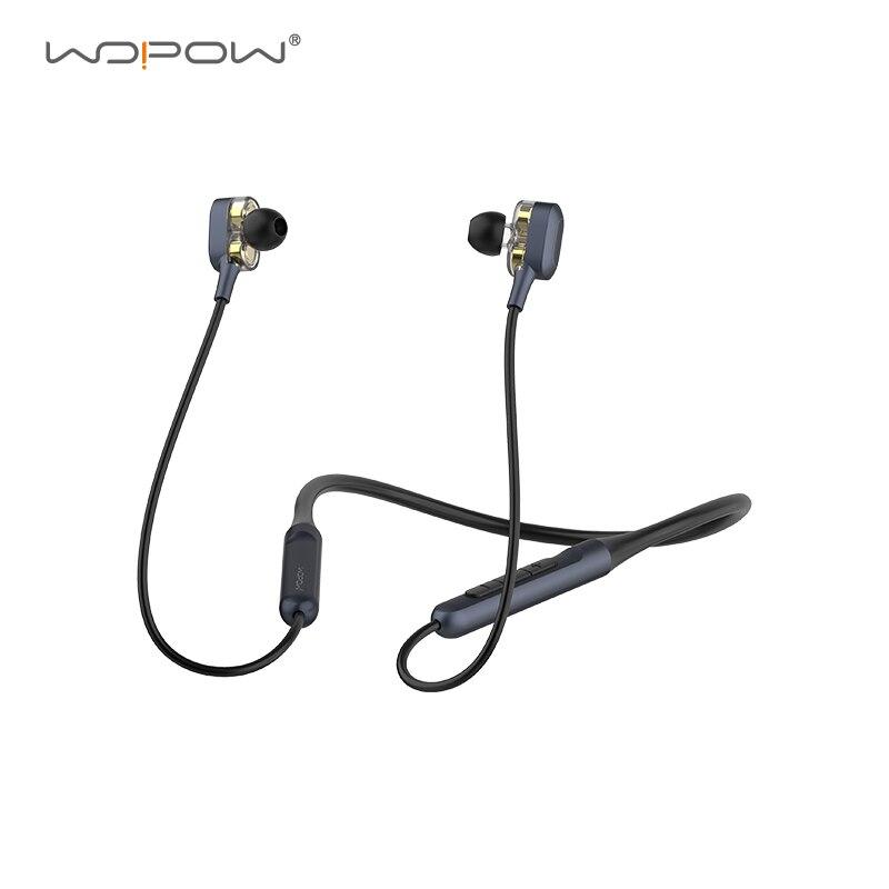 [Новое] WOPOW двойные динамические драйверы Bluetooth Беспроводной наушники для шейным спортивные Водонепроницаемый Шум шумоподавления наушники ...