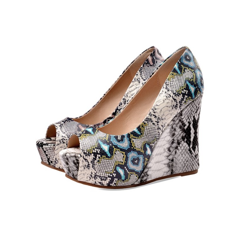 Womens Trend Snake Python Pattern Platform Wedge High Heel Belt Buckle Peep Toe Sandals Shoes Plus Size Summer 2Colors