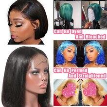 ALITOP 13x4 peluca recta con corte Bob frente de encaje pelucas de cabello humano 150% de densidad Pre arrancado blanqueado nudo brasileño de Color Natural pelo Remy