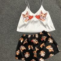 QWEEK Unicorn Pajamas for Woman Silk Sexy Pijamas Girls Sleepwear Satin Home Suit Summer Pyjama Femme V Neck 2020 Dropshipping 6