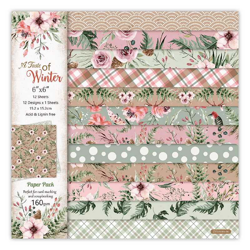 12pc Flower Winter Patterned Paper Scrapbooking Paper Pack Handmade Craft Paper Craft Background Pad