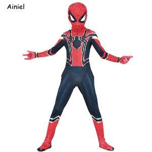 Image 4 - Ainiel, Железный Паук, карнавальный костюм, супергерой, костюм Zentai, комбинезон, спандекс, костюм, маска, вечерние костюмы на Хэллоуин для мальчиков
