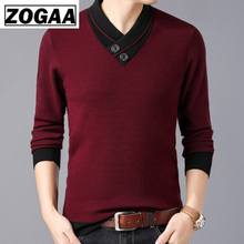 ZOGAA 2019 Men Sweaters New Business Casual Men's Self-cultivation V-neck Pullover Tide Knitted Sweater Mens