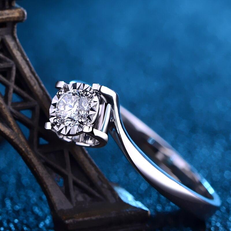 Luxe GIA Diamanten Verlovingsring Solitaire Voor Vrouwen 0.2ct Natuurlijke GIA Diamant Klassieke Ontwerp 4 klauw Wedding Band - 4