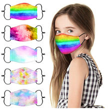 1pc enfants enfants bouche masques cravate colorant dessin animé impression Multi visage masque réutilisable lavable extérieur Mascarilla De Tela Niños Antiviral
