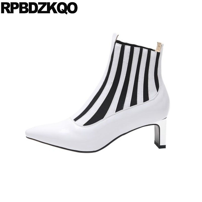 on sale affordable price sale retailer elastic fur black slip on women ankle boots medium heel block ...