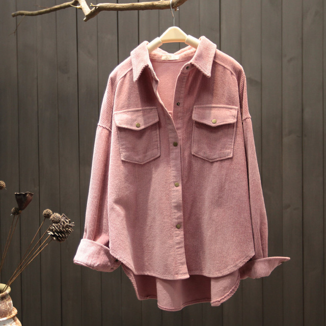 2021 New Spring Autumn Women Elegant Corduroy Pockets Top Blouse Office Ladies Retro Button Solid Long Sleeve Outwear Shirt A131 3