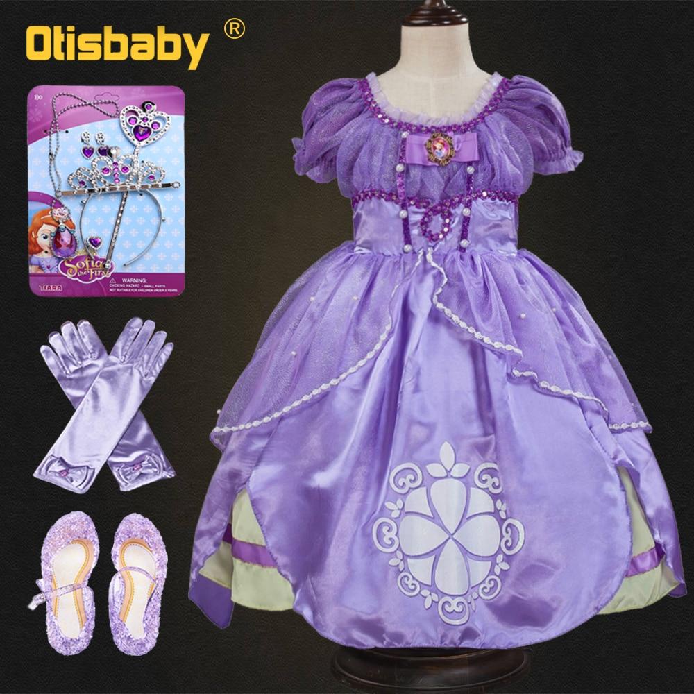 Summer Sophia Princess Dress Children Tangled Rapunzel Cosplay Costume Teenager Girls Party Wear Elsa Sofia Dress Accessories