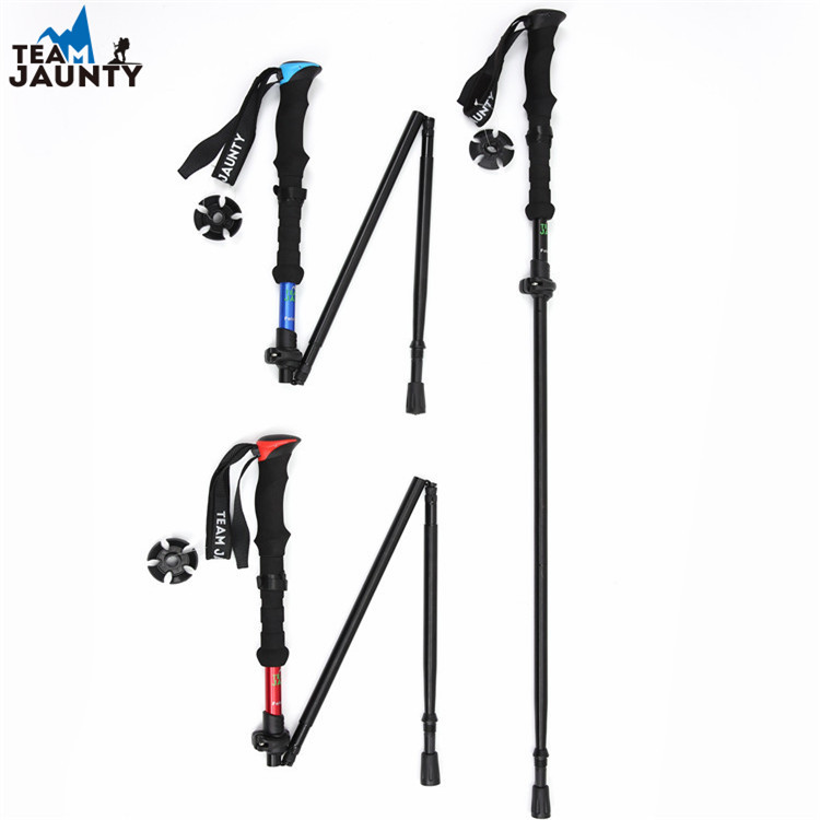 Cross Border Hot Sales Intensive Four Telescopic Folding Short Alpenstock Eva Outdoor Straight Handle Wand With Storage Bag Curr