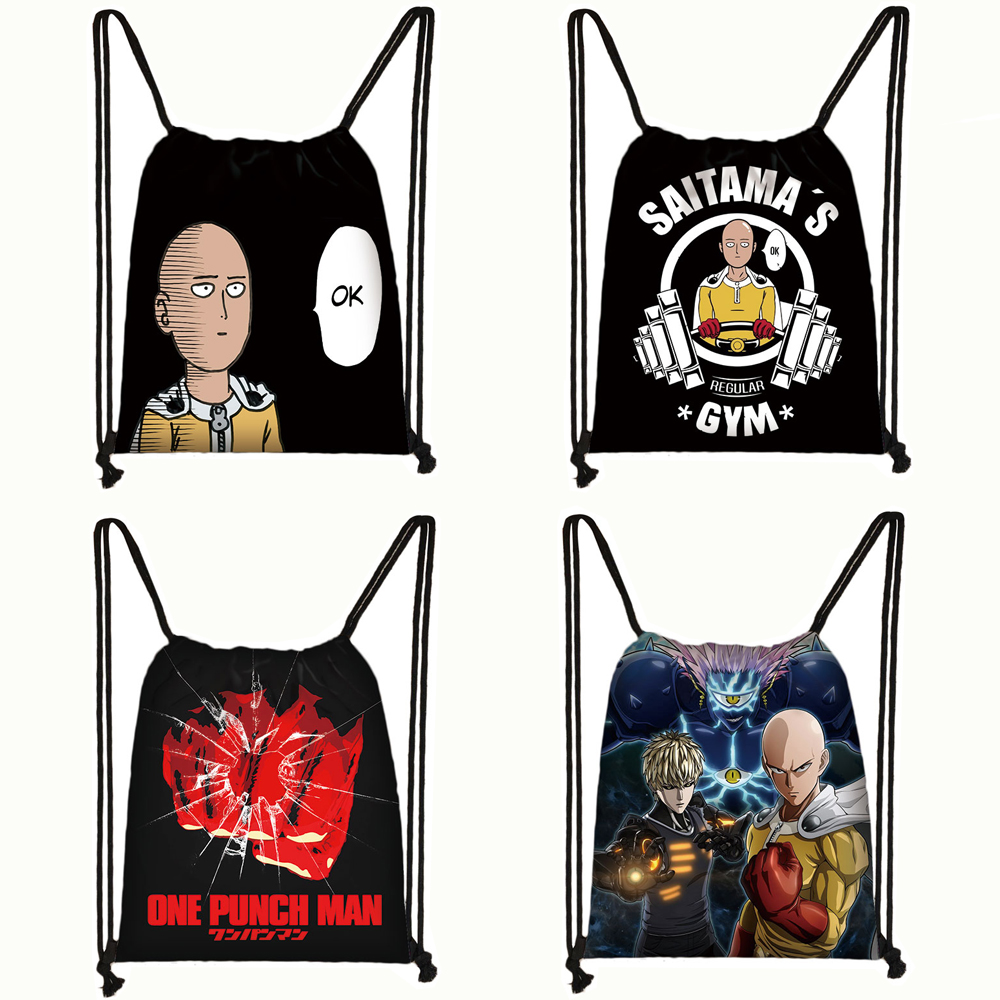Anime One Punch Man Drawstring Bag Women Men Backpack Saitama Genos Travel Bag Teenager Boys ONE PUNCH-MAN Storage Bag Book Bag