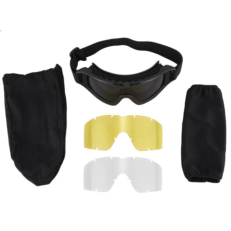 Black Tan Green Tactical Goggles Glasses Gx1000 Black 3 Lens Motorcycle Windproof Wargame Goggles|Cycling Eyewear| |  - title=