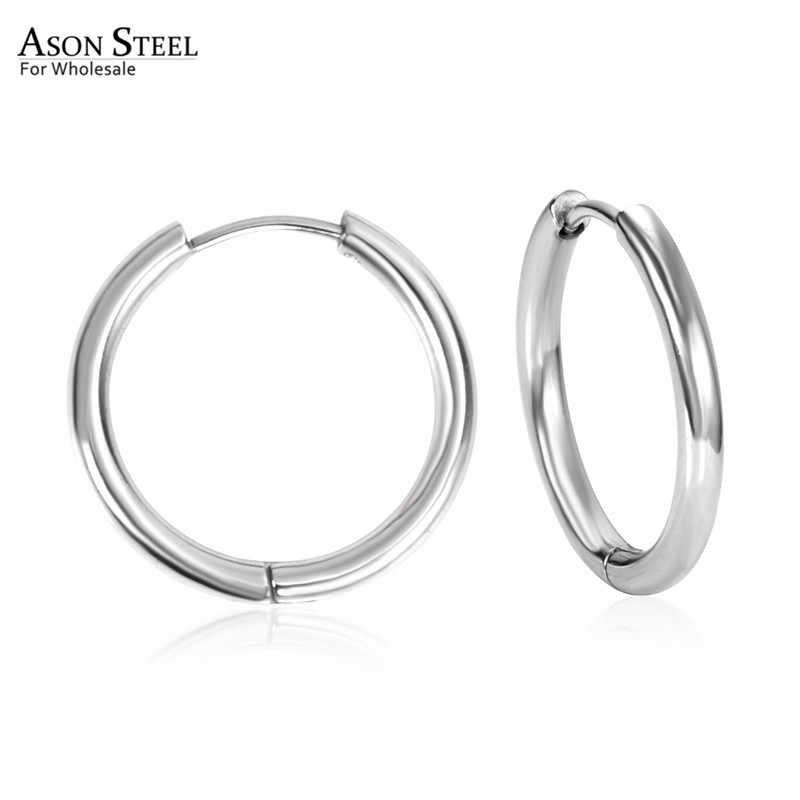 ASONSTEEL ทอง/เงินรอบวงกลม Hoop ต่างหูขนาด 8 มม.ถึง 20 มม.สแตนเลสสตีล Anti-allergy ขนาดเล็กต่างหู Brinco Bijoux PARTY