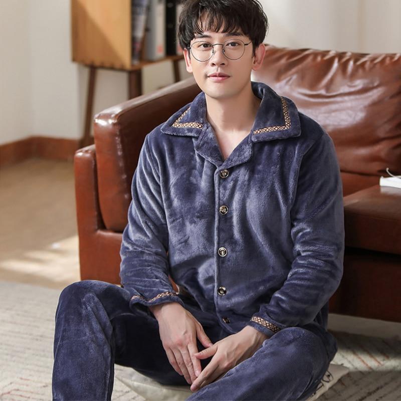 Pijamas de manga longa de espessura dos homens de flanela de inverno dos homens pijamas de lã de coral sono xxxl