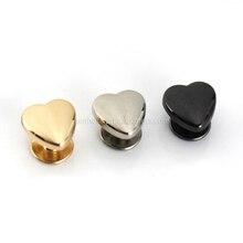 10 шт., металлические заклепки в форме сердца для кожаных гвоздиков, кожаное ремесло, ремень, кошелек, сумка, декоративная фурнитура 10 мм