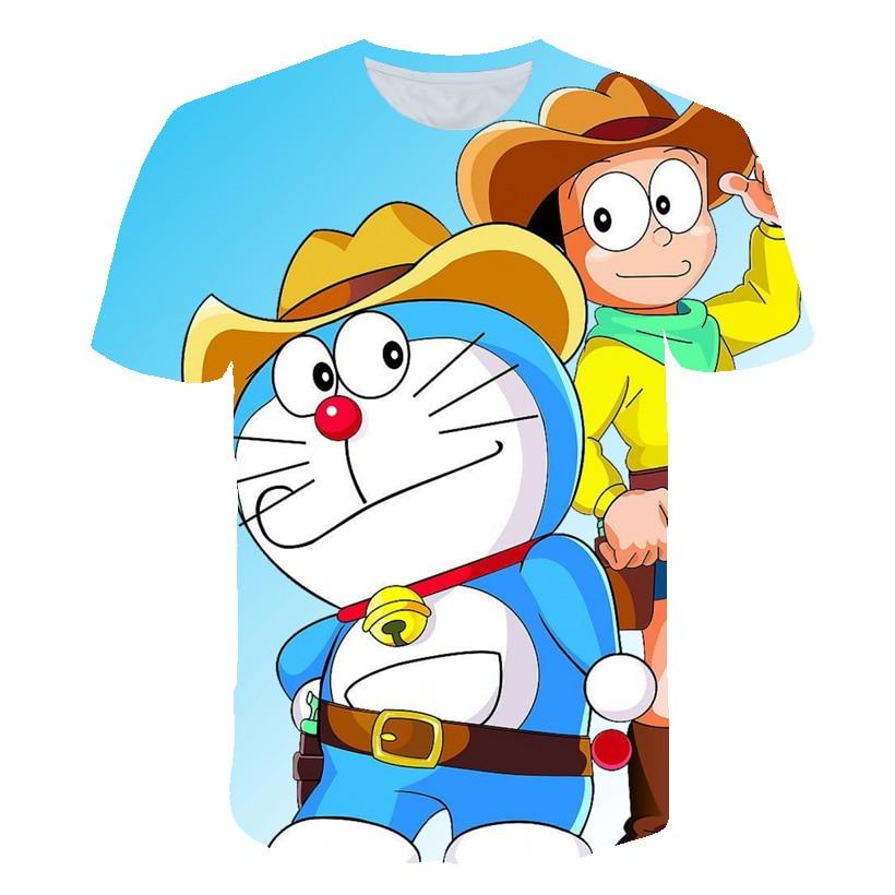 Новинка, 3D футболки для мальчиков и девочек с забавным аниме принтом Doraemon, Детская летняя одежда 2020, детская одежда, футболки в пляжном стиле