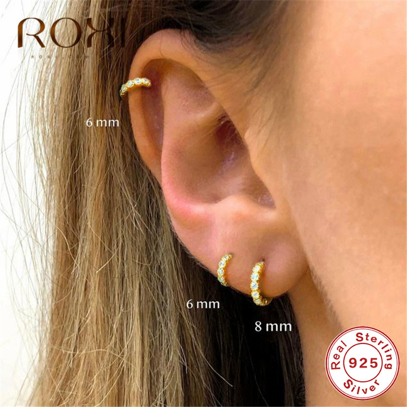 ROXI Simple Lovely Girl's Huggies Small Hoop Earrings Round Circle Zircon Crystal Earrings For Women 925 Sterling Silver Jewelry