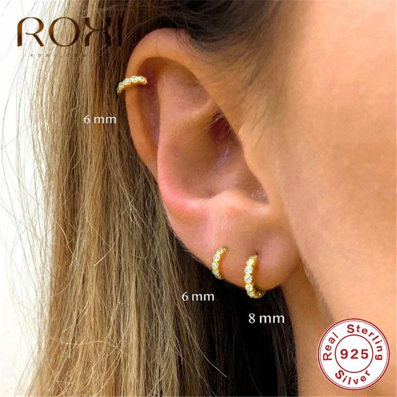 ROXI Simple Lovely Girl's Huggies Small Hoop Earrings Round Circle Zircon Crystal Earrings For Women 925 Sterling Silver Jewelry