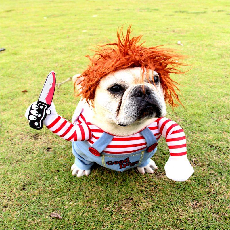 Забавная Одежда для собак, карнавальный костюм на Хэллоуин, Рождество, комические наряды, набор париков, одежда для кошек и собак, праздничн...