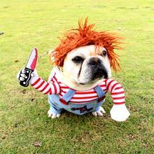 Zwierzęta pies śmieszne ubrania psy przebranie na karnawał Halloween boże narodzenie komiczne stroje z peruką zestaw kot domowy pies festiwal odzież na przyjęcia