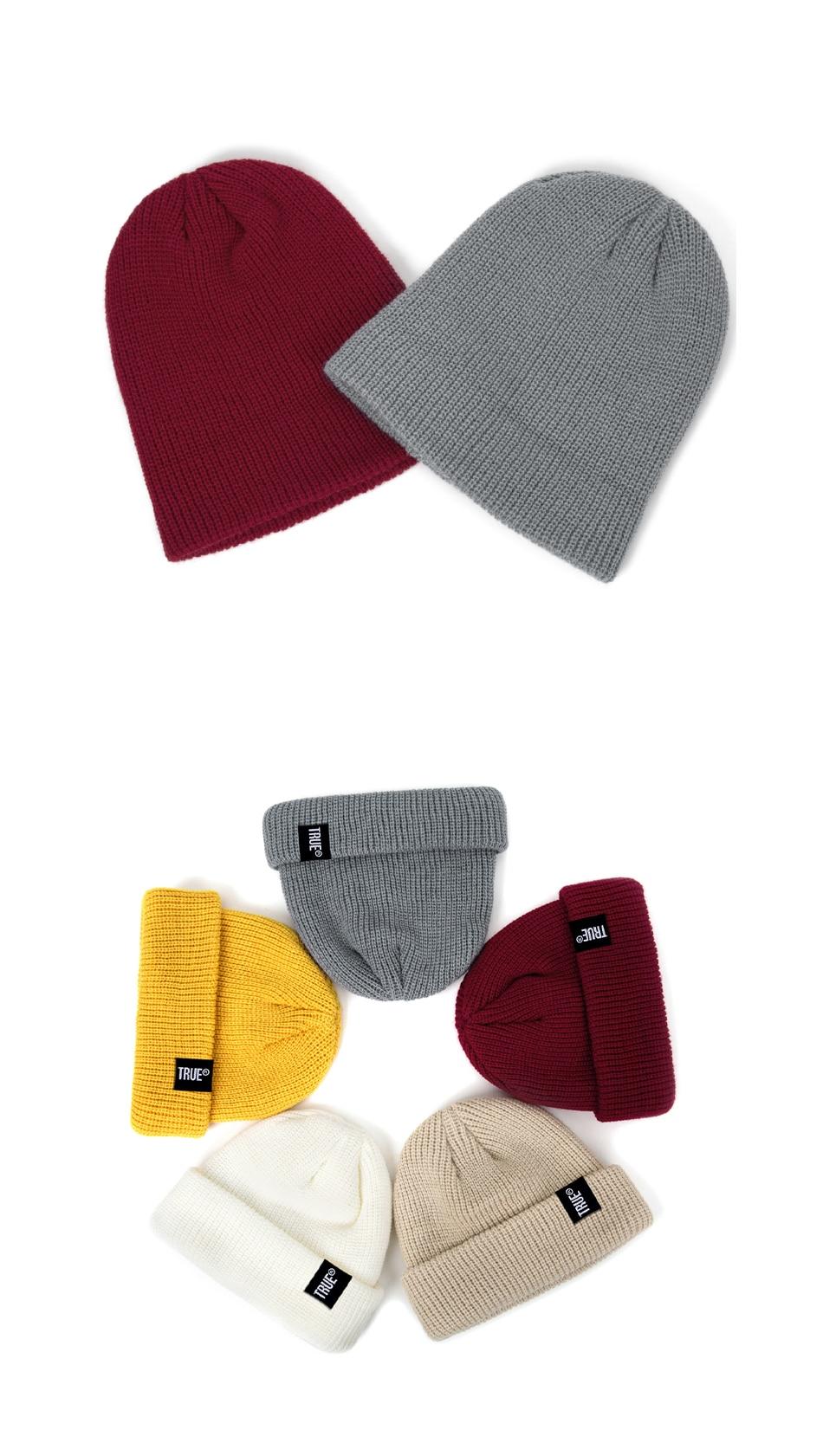 2019 Fashion Unisex Winter Hat Men Cuffed Cib Knit Hat Short Melon Ski Beanies Autumn Winter Solid Color Casual Beanie Hat 40