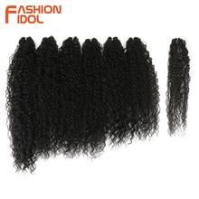 Aplique de cabelo sintético, moda idol afro, cabelo encaracolado, pacotes 7 unidades/pacote, 22 26 polegadas, ombre, natureza, cor preta pacotes de cabelo encaracolado