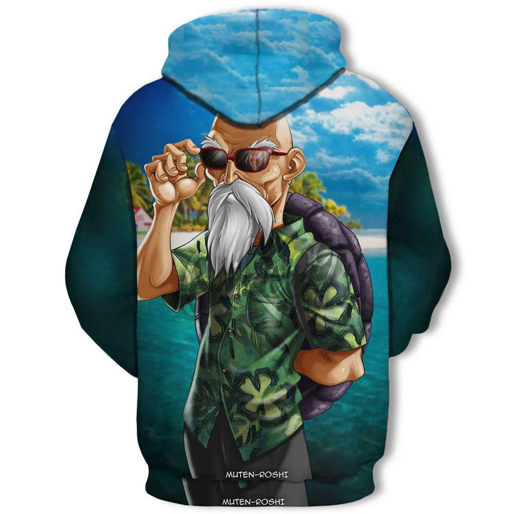 Grappige Master Roshi 3D Sweatshirts Mannen Herfst Winter Hipster Lange Mouwen Hooded Hoody Mannen/Vrouwen Anime Dragon Ball Z hoodies 4XL