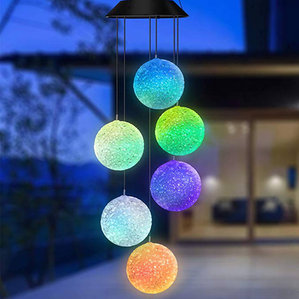 Hanging Led Waterproof Wind Chime Light Home Portable Garden Decorative Color Changing Spinner Lamp Plastic Ball Solar Powered