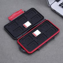 ALLOYSEED Waterproof Memory Card Case 12 Slots Capacity Anti-Shock Storage Holder Box Cases  Protector For SD/Micro SD/TF Cards