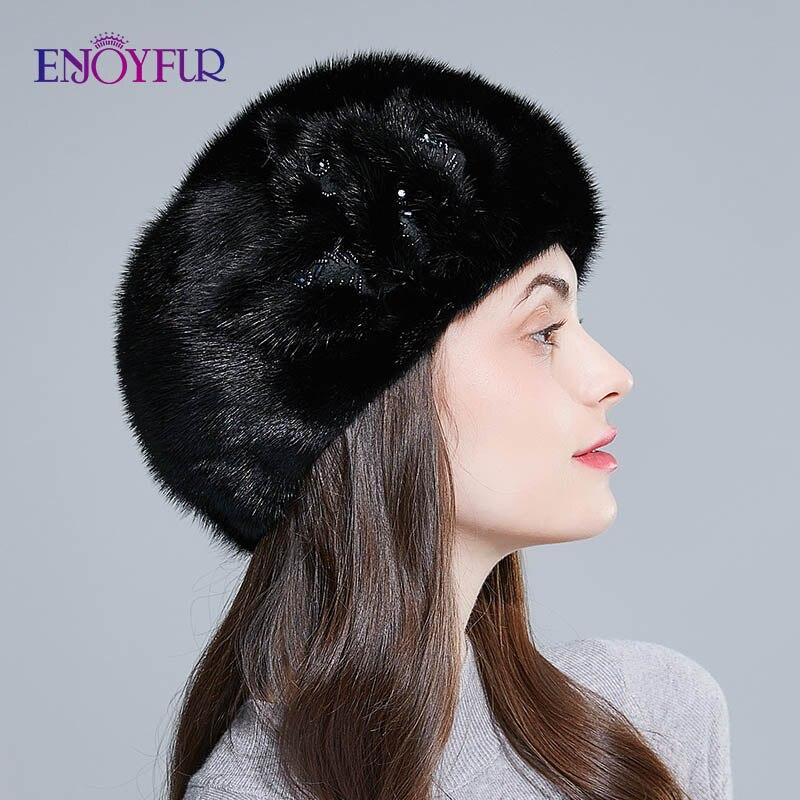 ENJOYFUR Hele nertsen bont baretten hoeden voor vrouwen winter warm mode bont caps effen kleur baret met bloem - 4