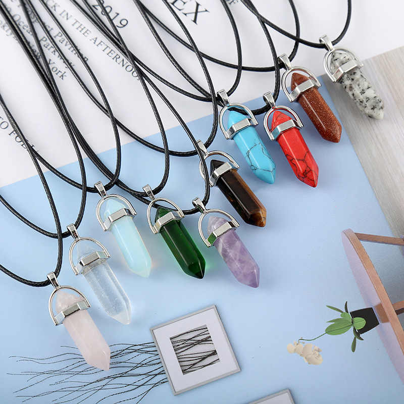 Hot Hexagonal Column Necklaces Natural Crystal Pendants Stone Pendant Leather Chains Necklace For Women Fashion Jewelry