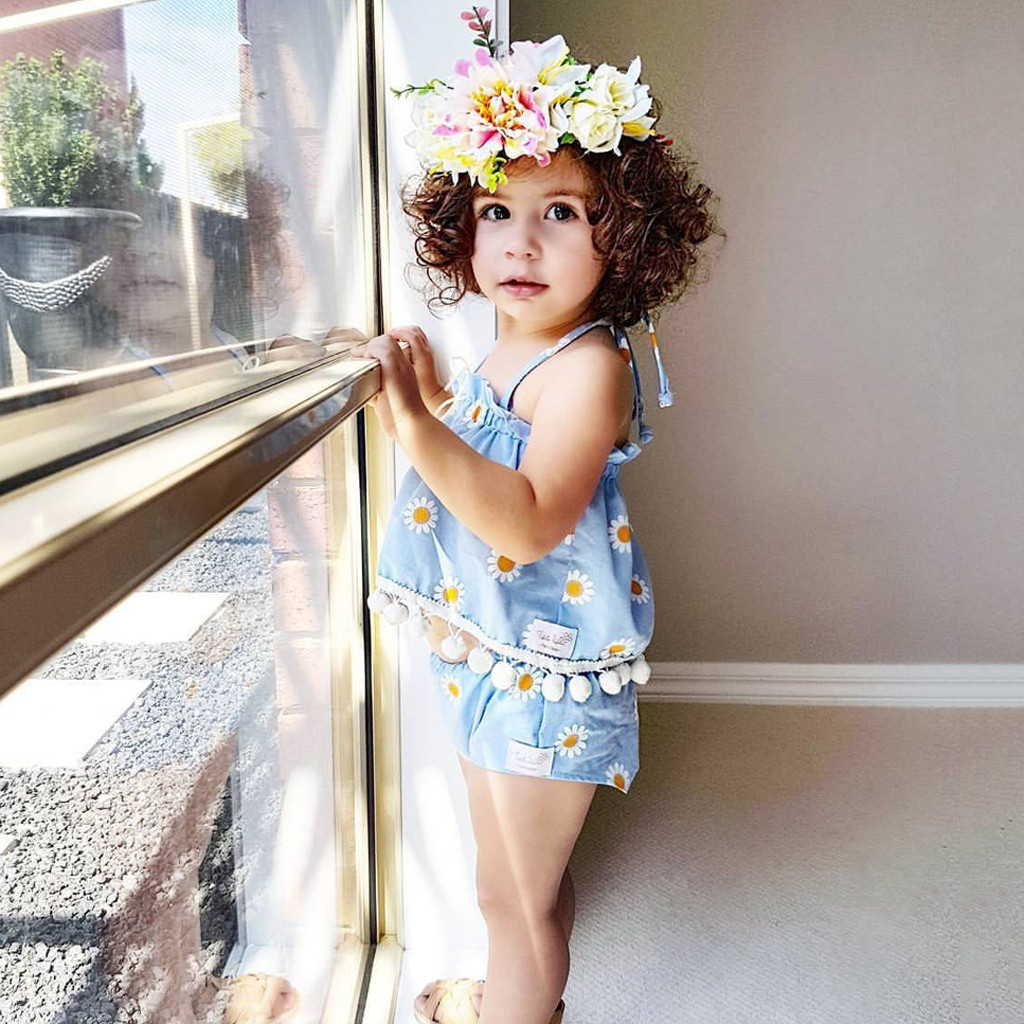 New Fashion Toddler Kids Baby Girl Sunflower Floral Halter T-shirt Tops Shorts Set Outfits Kids & Mother Product Drop Shipping