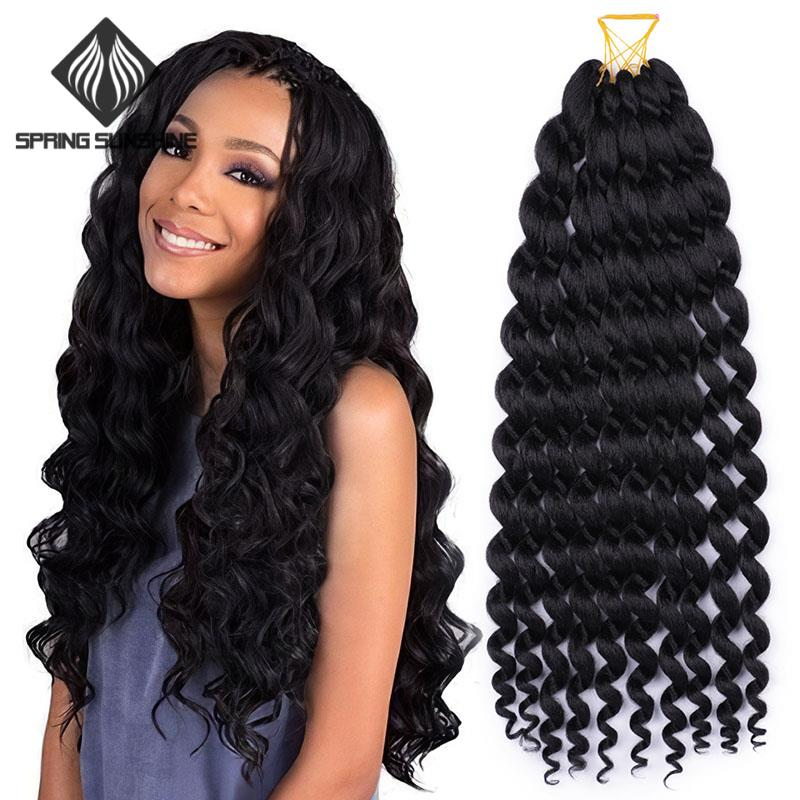 Spring sunshine 24inch Ocean Deep Wave Crochet Braids Loose Twist Braid Natural Black Synthetic Braiding Hair Bundles Extensions