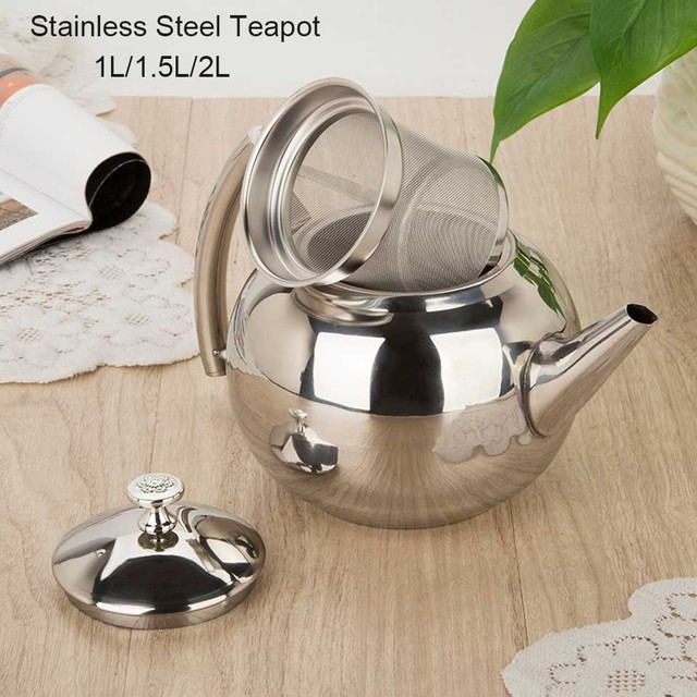 BORREY 2L Stainless Steel Teapot With Tea Infuser Filter Oolong Kettle Metal Tea Coffee Pot Induction Cooker Gas Stove Kettle 2