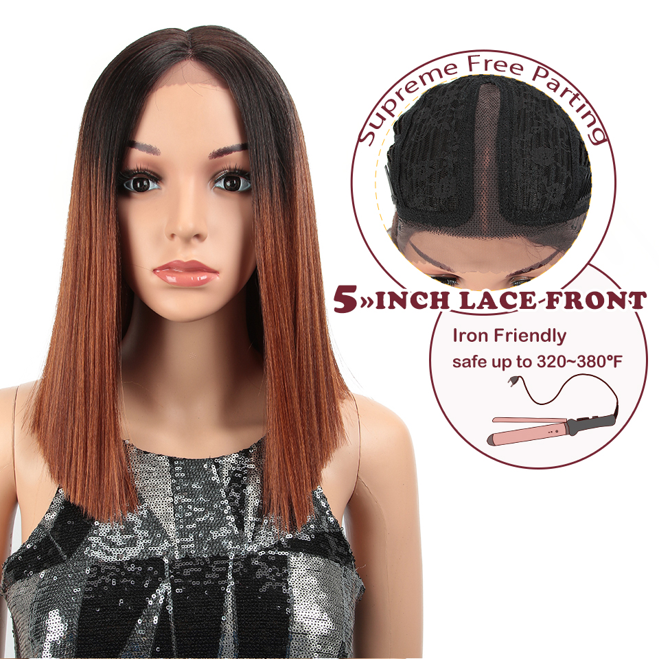 MAGIC Straight Synthetic Hair Lace Front And T Part Wig 14 Inch Wigs Ombre Wigs Colors Choice Cosplay Wig Free Shipping