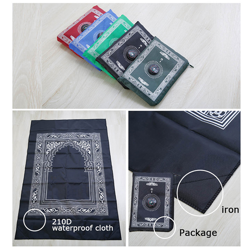 Image 3 - 100x60cm Four colors Easy Carry mubarak Muslim Prayer Rug Mat Islamic For Pocket Folding Blanket with for Compass
