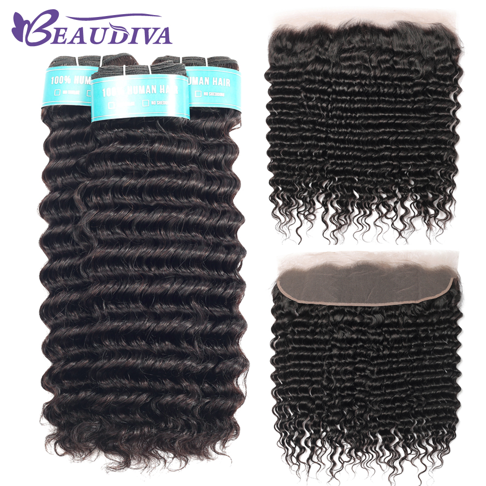 Beaudiva Brazilian Deep Wave Bundles With Frontal Human Hair Bundles With Closure Remy Lace Frontal Closure With Bundles