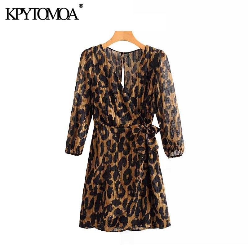 KPYTOMOA Women 2020 Sexy Fashion Leopard Print Bow Tie Sashes Mini Dress Vintage V Neck Long Sleeve Female Dresses Vestidos
