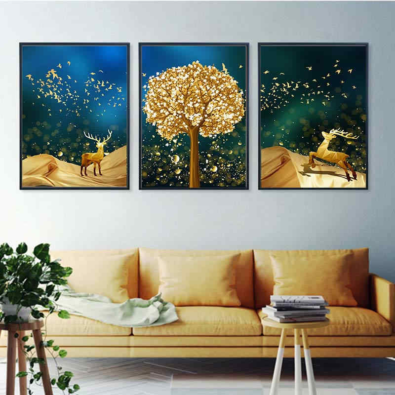 Golen Tree and Sika Deer Abstract Ink Dots Canvas Painting Posters And Modern Home Decor Wall Art Pictures For Living Room Aisle
