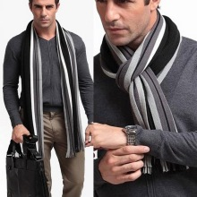 MoneRffi Winter Designer Scarf Men Striped Cotton Scarf Male Brand Shawl Wrap Knit Cashmere Bufandas Striped Scarf With Tassel